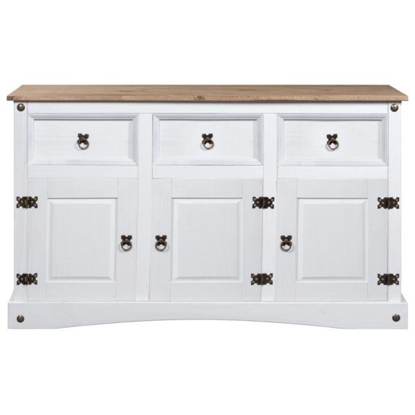 Sideboard Mexiko-Stil Kiefer Corona Weiß 132x43x78 cm