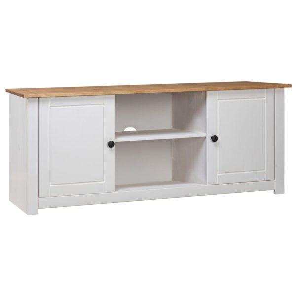 TV-Schrank Weiß 120 x 40 x 50 cm Massivholz Panama-Kiefer