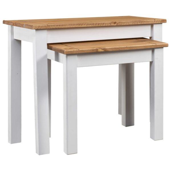 Satztische 2 Stk. Weiß Massivholz Panama-Kiefer