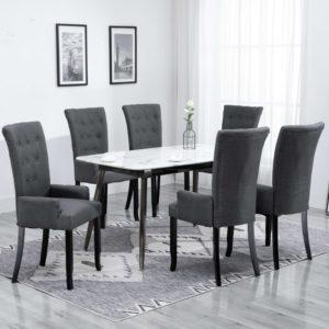 Esszimmerstühle mit Armlehnen 6 Stk. Dunkelgrau Stoff