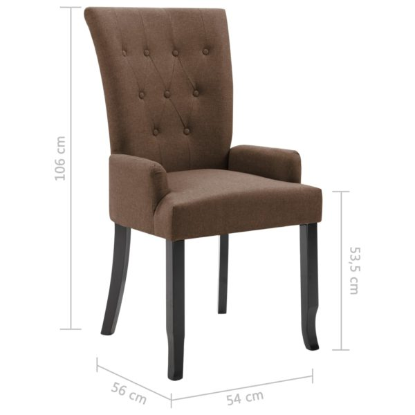 Esszimmerstühle mit Armlehnen 4 Stk. Braun Stoff