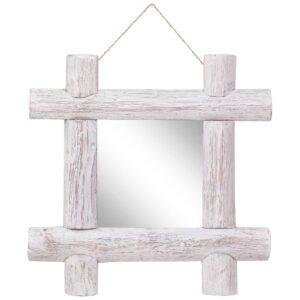 Holzspiegel Weiß 50×50 cm Recyceltes Massivholz