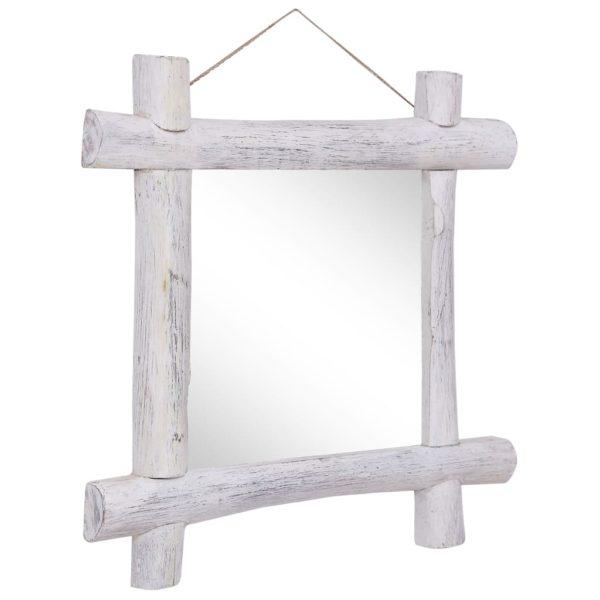 Holzspiegel Weiß 70×70 cm Recyceltes Massivholz