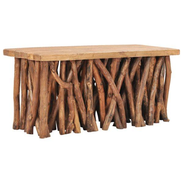 Couchtisch 100x40x47,5 cm Recyceltes Massivholz und Teak