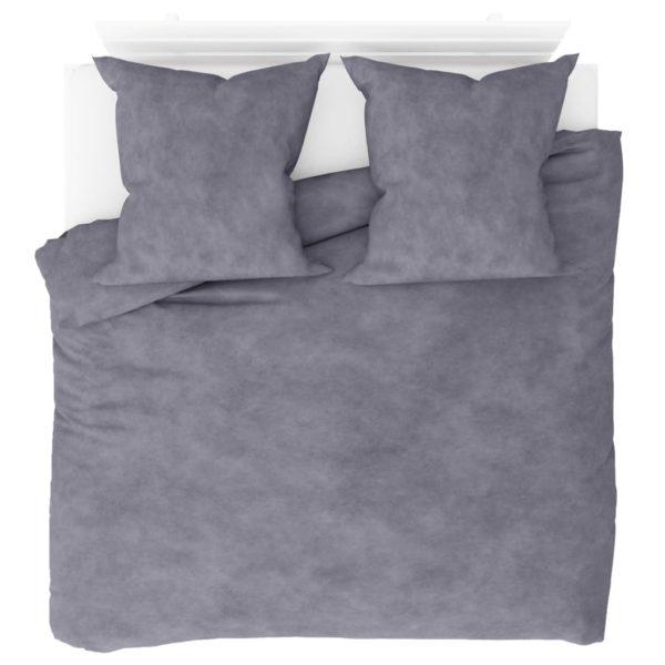 Bettwäsche-Set Fleece Grau 200×200/80×80 cm