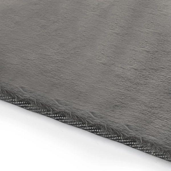 Teppich 140 x 200 cm Kunstkaninchenfell Dunkelgrau