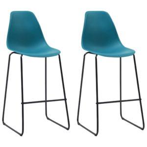 Barstühle 2 Stk. Türkisblau Kunststoff