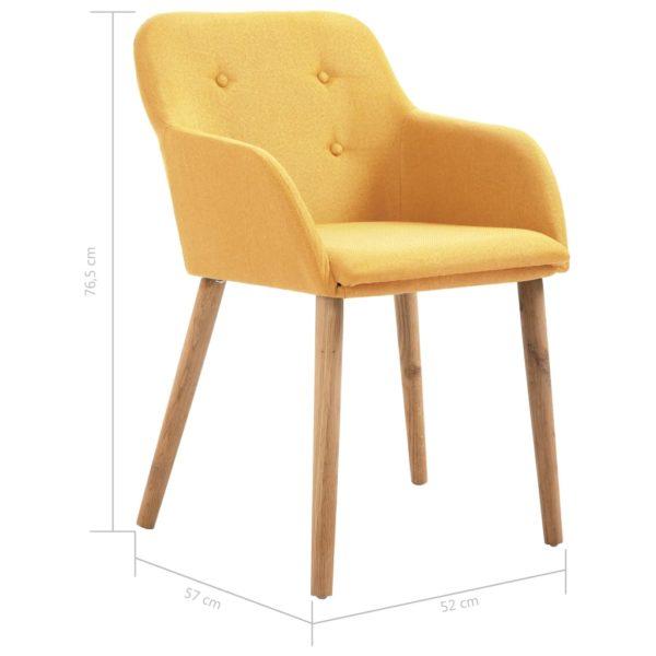 Esszimmerstühle 6 Stk. Gelb Stoff und Massivholz Eiche