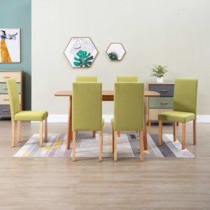Esszimmerstühle 6 Stk. Grün Stoff