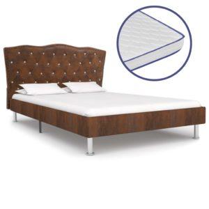 Bett mit Memory-Schaum-Matratze Braun Stoff 140×200 cm
