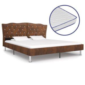 Bett mit Memory-Schaum-Matratze Braun Stoff 180×200 cm