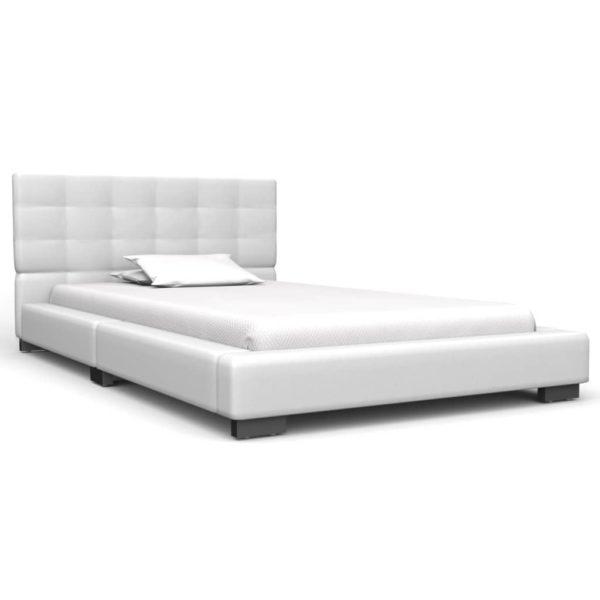 Bett mit Memoryschaum-Matratze Weiß Kunstleder 90×200 cm