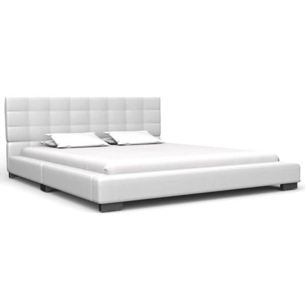 Bett mit Memory-Schaum-Matratze Weiß Kunstleder 140×200 cm