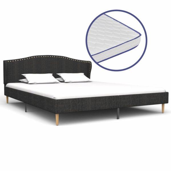 Bett mit Memory-Schaum-Matratze Dunkelgrau Stoff 180×200 cm