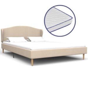Bett mit Memory-Schaum-Matratze Beige Stoff 140×200 cm