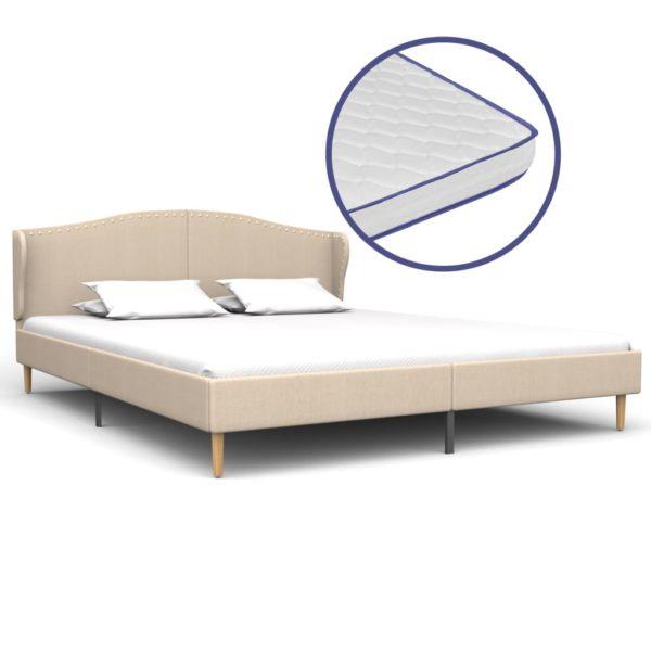 Bett mit Memory-Schaum-Matratze Beige Stoff 160×200 cm