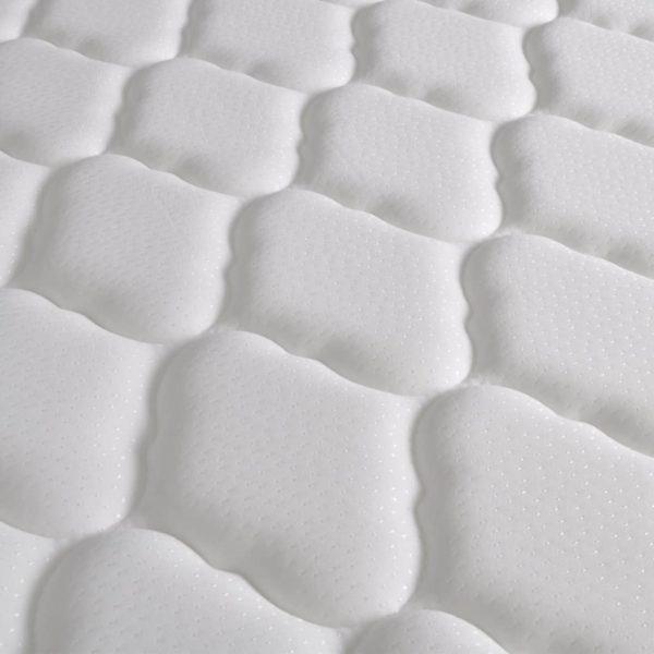 Bett mit Memory-Schaum-Matratze Hellgrau Stoff 160×200 cm