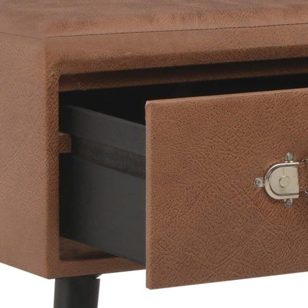 Bank mit Schubladen 80 cm Dunkelbraun Kunstleder