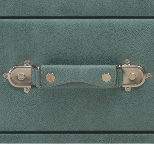 Bank mit Schubladen 80 cm Meeresgrün Kunstleder