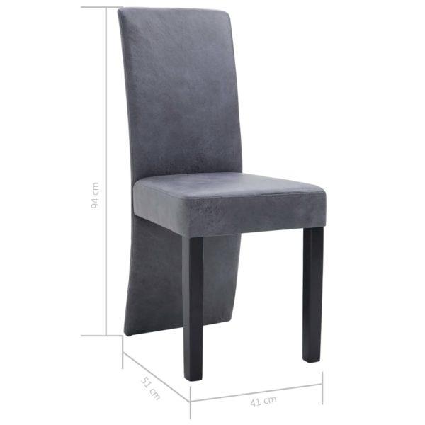 Esszimmerstühle 6 Stk. Grau Wildleder-Optik