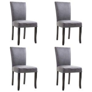 Esszimmerstühle 4 Stk. Grau Wildleder-Optik
