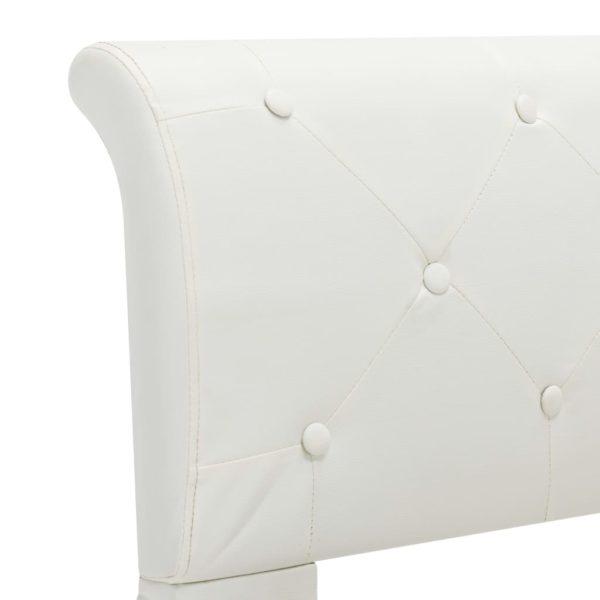Bettgestell Weiß Kunstleder 160 x 200 cm