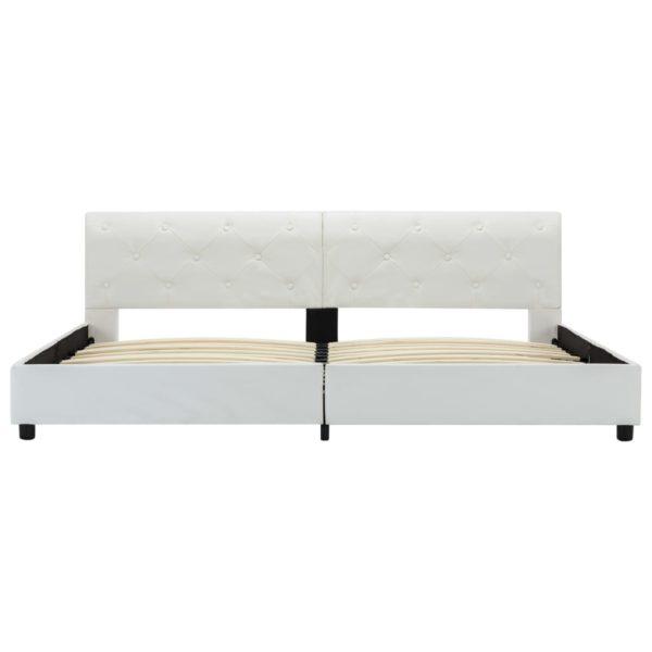 Bettgestell Weiß Kunstleder 180×200 cm