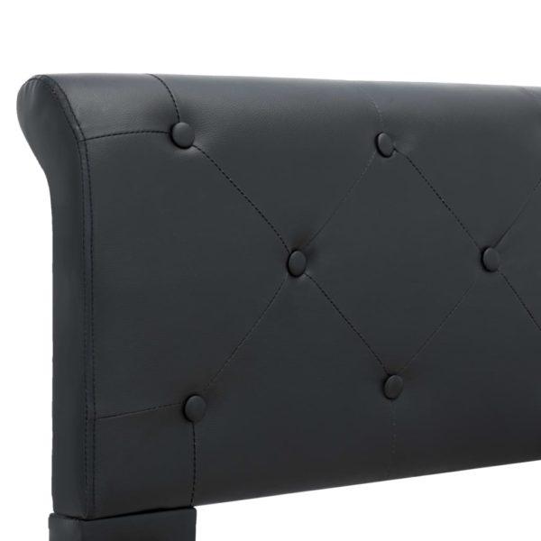 Bettgestell Schwarz Kunstleder 160 × 200 cm