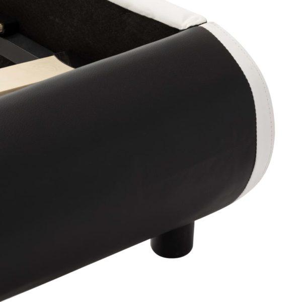 Bettgestell mit LED Schwarz Kunstleder 90×200 cm