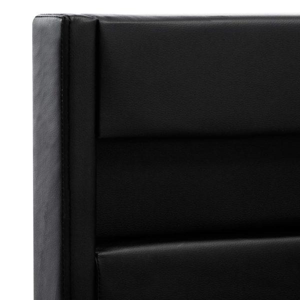 Bettgestell mit LED Schwarz Kunstleder 140×200 cm