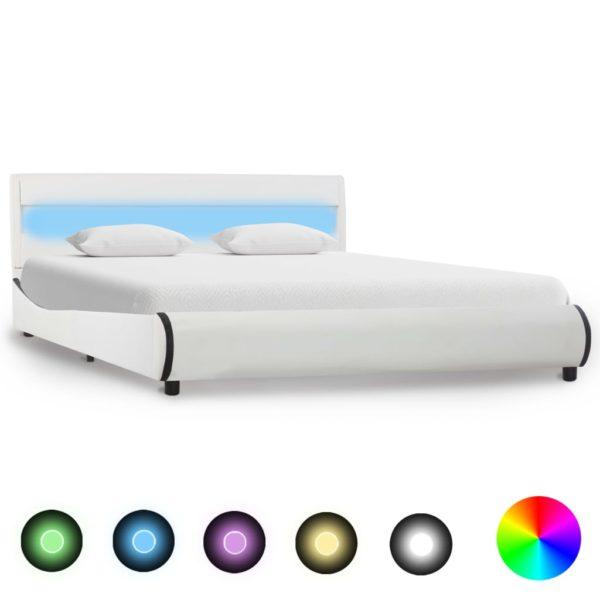 Bettgestell mit LED Weiß Kunstleder 120 x 200 cm