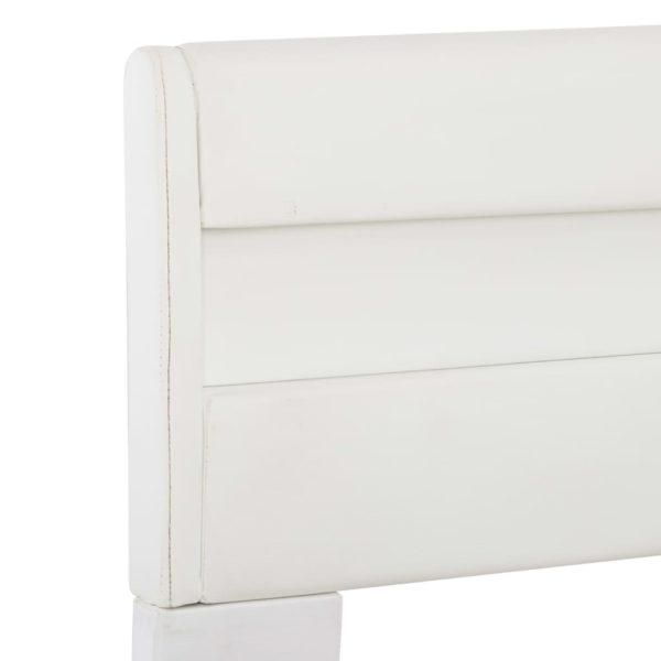 Bettgestell mit LED Weiß Kunstleder 180×200 cm