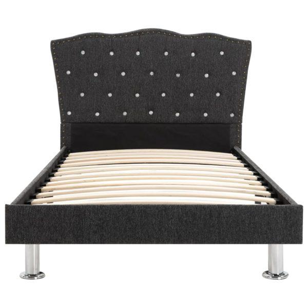Bett mit Matratze Dunkelgrau Stoff 90 x 200 cm