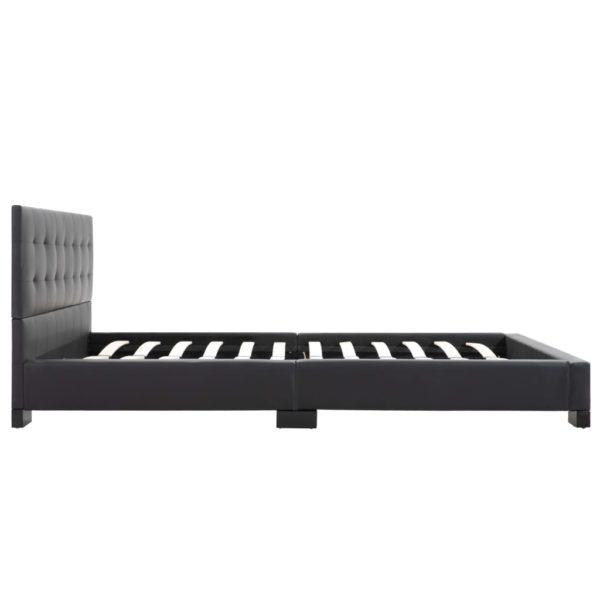 Bett mit Matratze Schwarz Kunstleder 140 x 200 cm