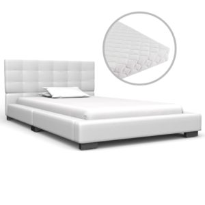 Bett mit Matratze Weiß Kunstleder 90 x 200 cm