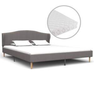 Bett mit Matratze Hellgrau Stoff 180 x 200 cm