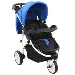 3-Rad-Kinderwagen Blau und Schwarz