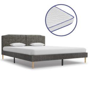 Bett mit Memory-Schaum-Matratze Dunkelgrau Stoff 160×200 cm