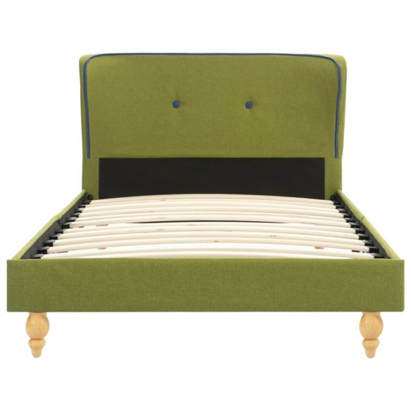 Bett mit Memory-Schaum-Matratze Grün Stoff 90×200 cm