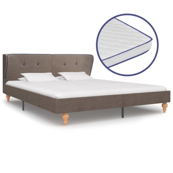 Bett mit Memory-Schaum-Matratze Taupe Stoff 160×200 cm