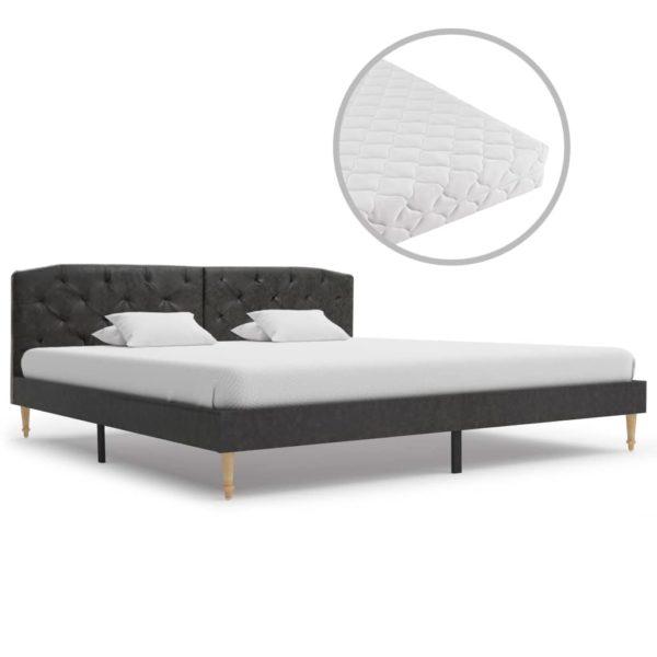 Bett mit Matratze Schwarz Stoff 180 x 200 cm