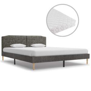 Bett mit Matratze Dunkelgrau Stoff 160 x 200 cm