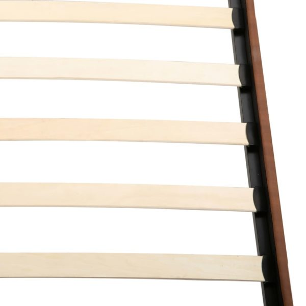 Bett mit Matratze Braun Stoff 140 x 200 cm
