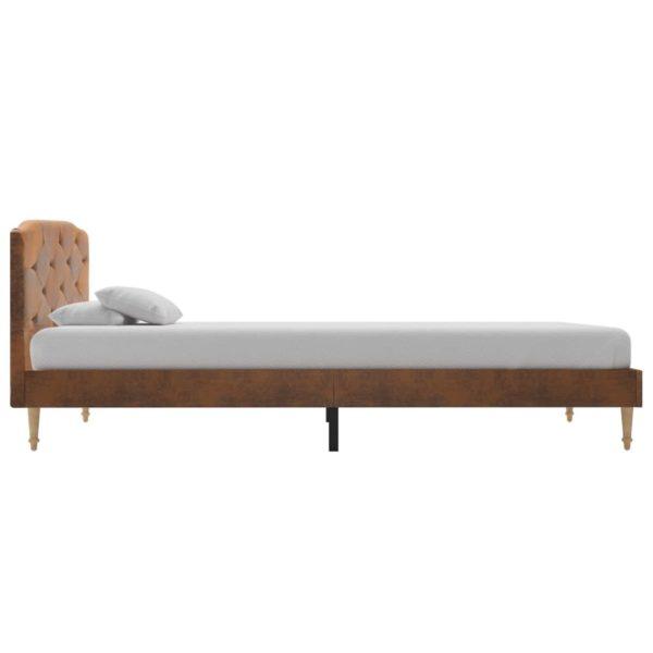 Bett mit Matratze Braun Wildleder-Optik 90 x 200 cm
