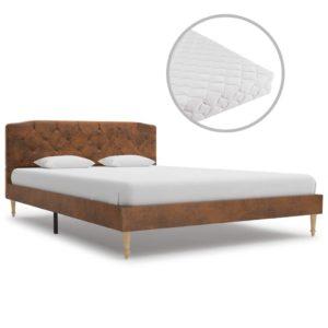 Bett mit Matratze Braun Wildleder-Optik 140 x 200 cm
