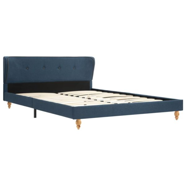 Bett mit Matratze Blau Stoff 140 x 200 cm