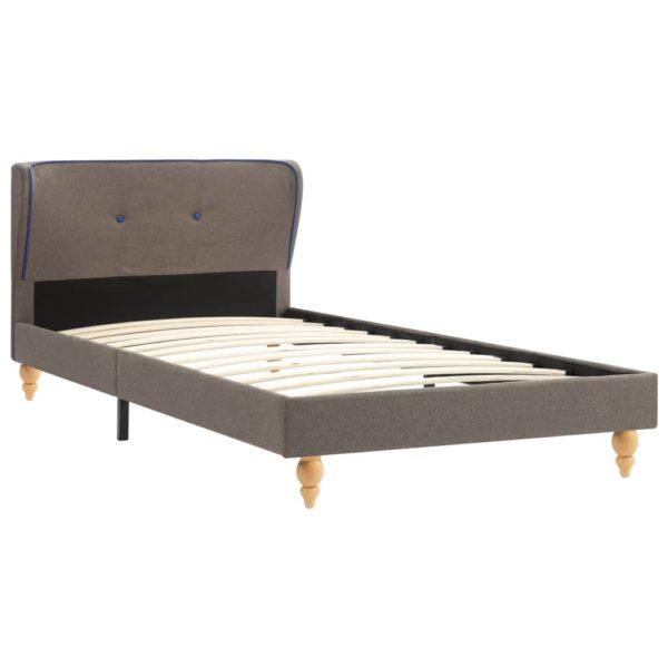 Bett mit Matratze Taupe Stoff 90 x 200 cm