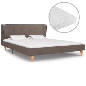 Bett mit Matratze Taupe Stoff 140 x 200 cm