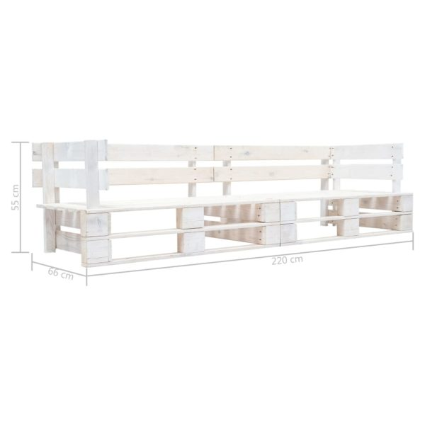 Garten-Palettensofa 2-Sitzer Weiß Holz