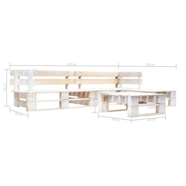 4-tlg. Garten-Paletten-Sofagarnitur Holz Weiß